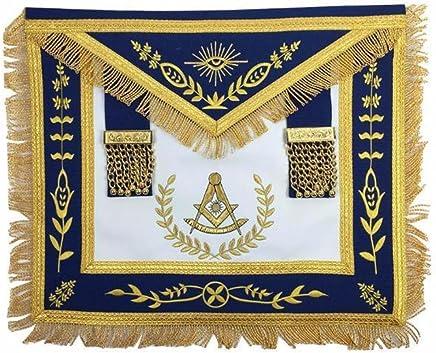 93011c03f506 Bricks Masons Masonic Blue Lodge Past Master Gold Machine Embroidery  Freemasons Apron