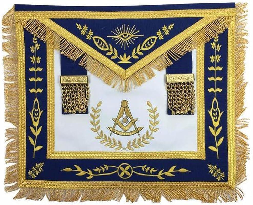 Bricks Masons Masonic Blue Lodge Past Master Gold Machine Embroidery Freemasons Apron