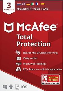 McAfee Total Protection 2021  3 apparaten  1 jaar   antivirussoftware, internetbeveiliging, wachtwoordbeheer, Mobile Secur...
