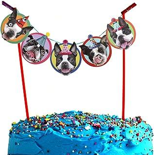 Boston Terrier Cake Garland, photographic dog birthday party decoration