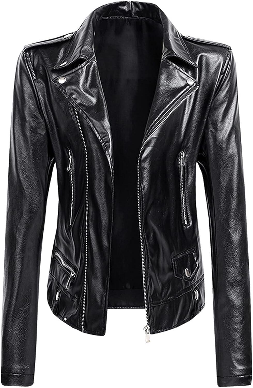 Aritone Women's Lapel Collar Button Motorcycle Jacket Leather Short Jacket Coat