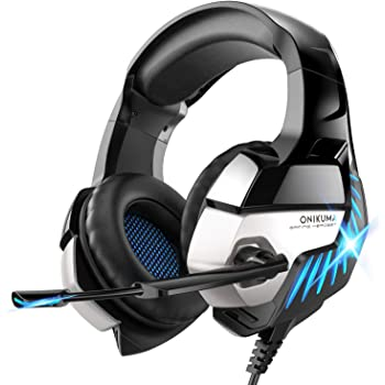 Gaming Headset for PS4, PS5, Xbox One, PC Headphones with Microphone LED Light Mic for Nintendo Switch Playstation Computer, K5 pro (Black&Blue)