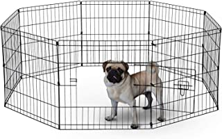BUNNY BUSINESS 8 Panel Playpen Suitable for Rabbits/Guineas/Dogs and Cats, Small, Black