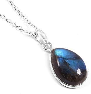 Ratnagarbha Blue Flash Labradorite Necklace, Sterling Silver Jewelry, Labradorite Chain Necklace, Bezel Set Labradorite, T...
