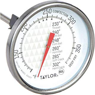 "Taylor 3505 TruTemp Series Candy/Deep Fry Analog Dial Thermometer with 6"" Stem"