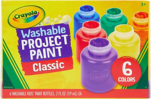 CRAYOLA 54-1204 Washable Kids Paint, 6pk, Classic Colours, Children Art & Craft, Projects, Artist, Students, Creativity