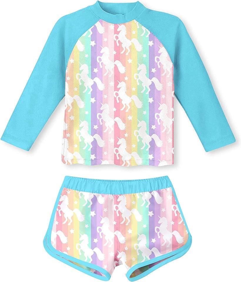 TUONROAD Girls 2 Pieces Rash Guard Swimsuit Long Sleeve Tankini for 4-10 Years