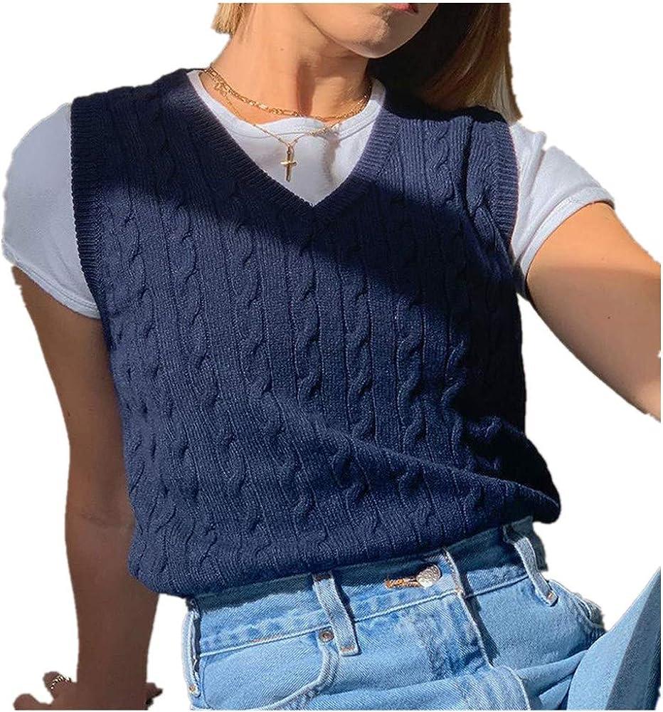 Hemlock Women Plaid Knitted Sweater Vest Lattice Cropped Sweater Tops V Neck Sweaters Vest Tank Tops Fashion Knitwear
