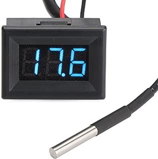 DROK 100096 Micro LED Digital -55 to 125℃ Temperature Meter Gauge Panel DC 7-30V 12V/24V Temp Tester Monitor with Bright Blue Digital Display and DS18B20 Waterproof Sensor Probe