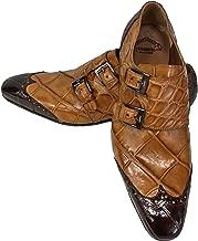 Mauri Men's (1010) Brown Italian Wingtip, Alligator Two Tone, Brandy & Rust, Double Monk, Italian Shoes