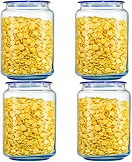 WWJHH-Food storage box Lot de 4 boîtes de Rangement de Cuisine en Verre Transparent sans Plomb hermétique et réutilisables...