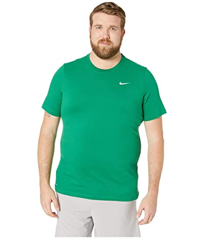 Nike Big Tall Dry Tee Dri-Fit Cotton Crew Solid (Pine Green/White) Men