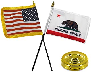 ALBATROS USA American Fringe with California Republic State Flag 4 inch x 6 inch Desk Set with Gold Base for Home and Parades, Official Party, All Weather Indoors Outdoors