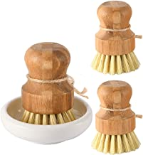 SUBEKYU Bamboo Dish Scrub Brushes, Kitchen Wooden Cleaning Scrubbers Set for Washing Cast Iron Pan/Pot, Natural Sisal Bris...