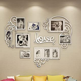 Vaabee Family Wall Decor Acrylic 3D DIY Mirror Stickers Love Wall Art for Living Room Bedroom House Home Decorations Silve...