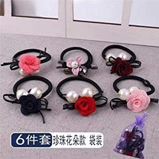 6Pcs/SET Lovely Flowers Elastic Hair Bands Toys For Girl Handmade Bow Headband Scrunchy Kids Hair Accessories For Women
