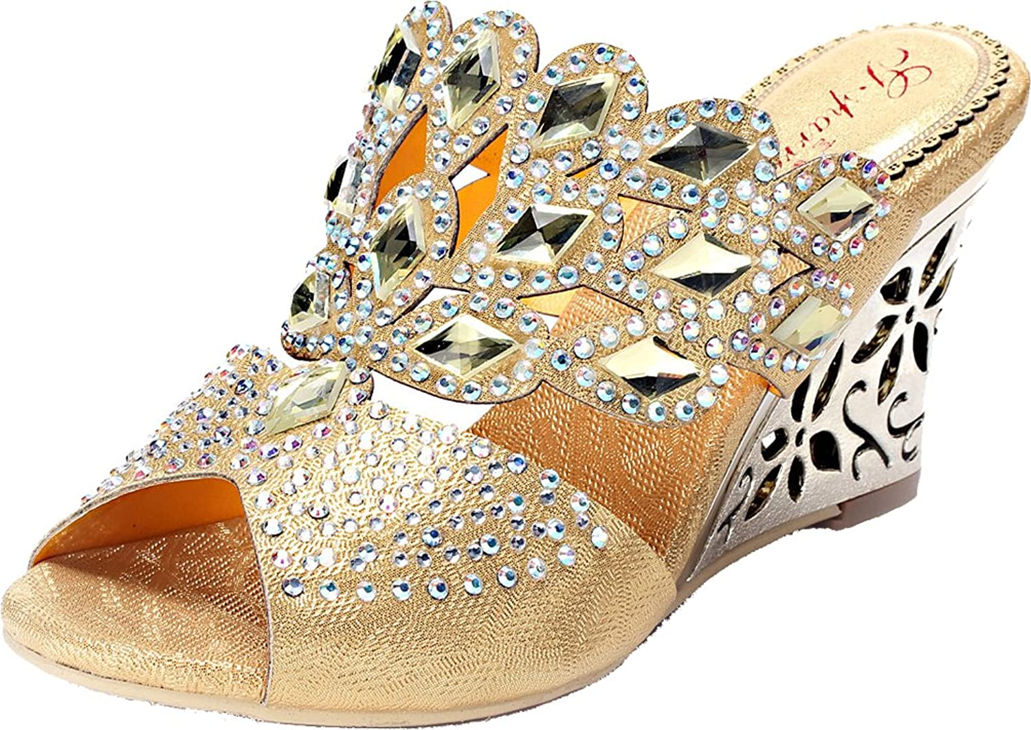 Salabobo Womens Wedding Bride Peep-Toe Wedge Sandals