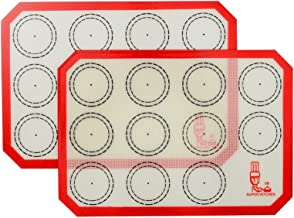"""Non Stick Silicone Baking Mat Quarter Sheet Macaron - 8.2""""x11.6"""",Set of 2 Toaster Oven Liners For Pizza/Cookie and Bread M..."""