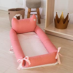 WSGT Baby bed Infants Sleep Bed Nest Pod Organic Cotton Baby Bassinet Portable Travel Crib Bedding Breathable and Hypoallergenic B 90x55x35cm