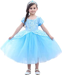 Princess Dress Up Cinderella Costumes Kids Halloween Party Cosplay Dress for Little Girl 2-12T