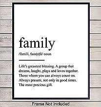 Inspirational Typography Art Print, Family Definition Wall Art Poster -Chic Home Decor for Kitchen, Living Room, Den - Gift for Women, Men - 8x10 Photo Unframed