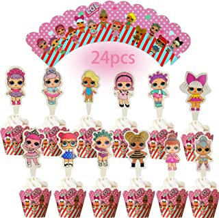 Dawei 24PC lol cupcake topper cupcake wrapper lol theme party decoration girl or baby birthday party cake decoration