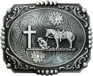 QUKE Retro Celtic Cross Horse Horseman Religious Rhinestone Horseman Belt Buckle