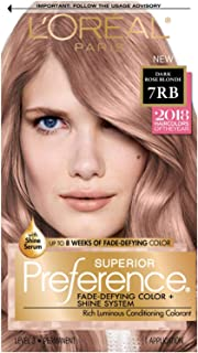 L'OrÃal Paris Superior Preference Fade-Defying + Shine Permanent Hair Color, 7RB Dark Rose Blonde, Hair Dye Kit (Pack of 1)