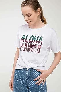 DeFacto Payet İşlemeli Slogan Baskılı T-shirt Kadın T-Shirt