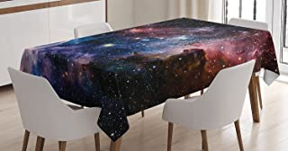 Ambesonne Space Decorations Tablecloth, Stars Nebula Colorful Space Galaxy Astronomic Picture Print, Rectangular Table Cover for Dining Room Kitchen, 60x90 Inches, Navy Pink