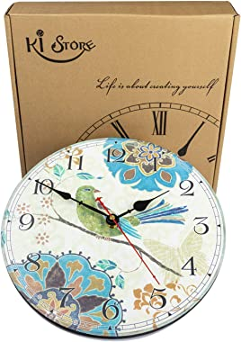 KI Store Silent Wall Clocks Non Ticking Decorative Clock for Bedroom Living Room Kitchen Wood Cabin Farmhouse Round Wall Deco