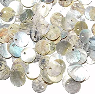 Shell Beads, Qiancraftkits 400 Natural 12mm 15mm Flat Round Mussel Shell Coin Beads Drop Charms for Jewelry Making