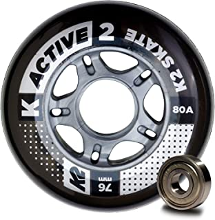 K2 Skate Active 80A 8 Wheel Pack with ILQ 5 Bearing & Alum Spacer, 76mm,