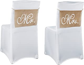 vlovelife 1 Paar Mr & Mrs Jute Bögen Rustikal Stuhl Banner Band Set Stuhl Schild Girlande Vintage Hochzeit Party Stuhl Dekoration 36 cm x 23 cm, khaki, 36cm X 23cm
