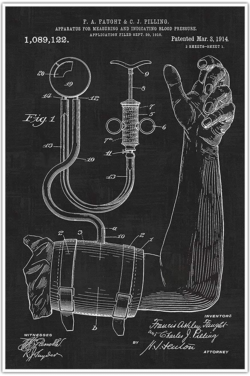 Patent Poster Print 1914 Blood Pressure Cuff Art Print - Medical - BP Cuff - Doctor - Doctors Office - Physician Wall Art - Nurse Gift