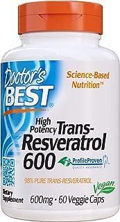 Doctor`s Best Trans-Resveratrol 600, Non-GMO, Vegan, Gluten Free, Soy Free, 600 mg, 60 Veggie Caps
