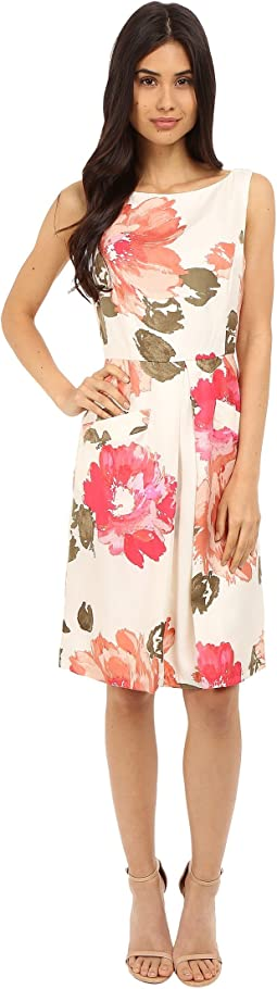 Printed Twill Sleeveless Pleat Front Fit and Flare Dress