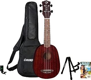 Luna Guitars, 4-String Luna Vintage Red Mahogany Soprano Ukulele with ChromaCast Padded Gig Bag, Clip-On Tuner, Stand & Chord Guide, Pineapple (UKE-VMP-RDS-KIT-1)