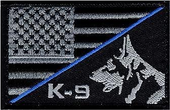 K-9 USA American Flag Thin Blue Line Police SWAT Morale Hook Fastener Patch (PK-1B)