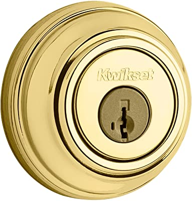 Kwikset 985 Double Cylinder Deadbolt featuring SmartKey in Polished Brass