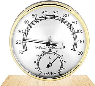 Higrómetro Termómetro Sauna,Accesorio para Sala de Sauna,2 en 1 Termómetro de Metal,TermóMetro para Sala de Sauna,Higrómet...