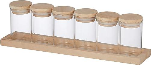 PANTRY PAN0038 6pce Spice Jar Set w/Wooden Base, Multicolored