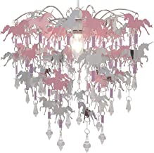 Eenhoorn kinderen plafondverlichting slaapkamer kroonluchter roze paars en zilver licht schaduw lamp plafond hanglamp scha...