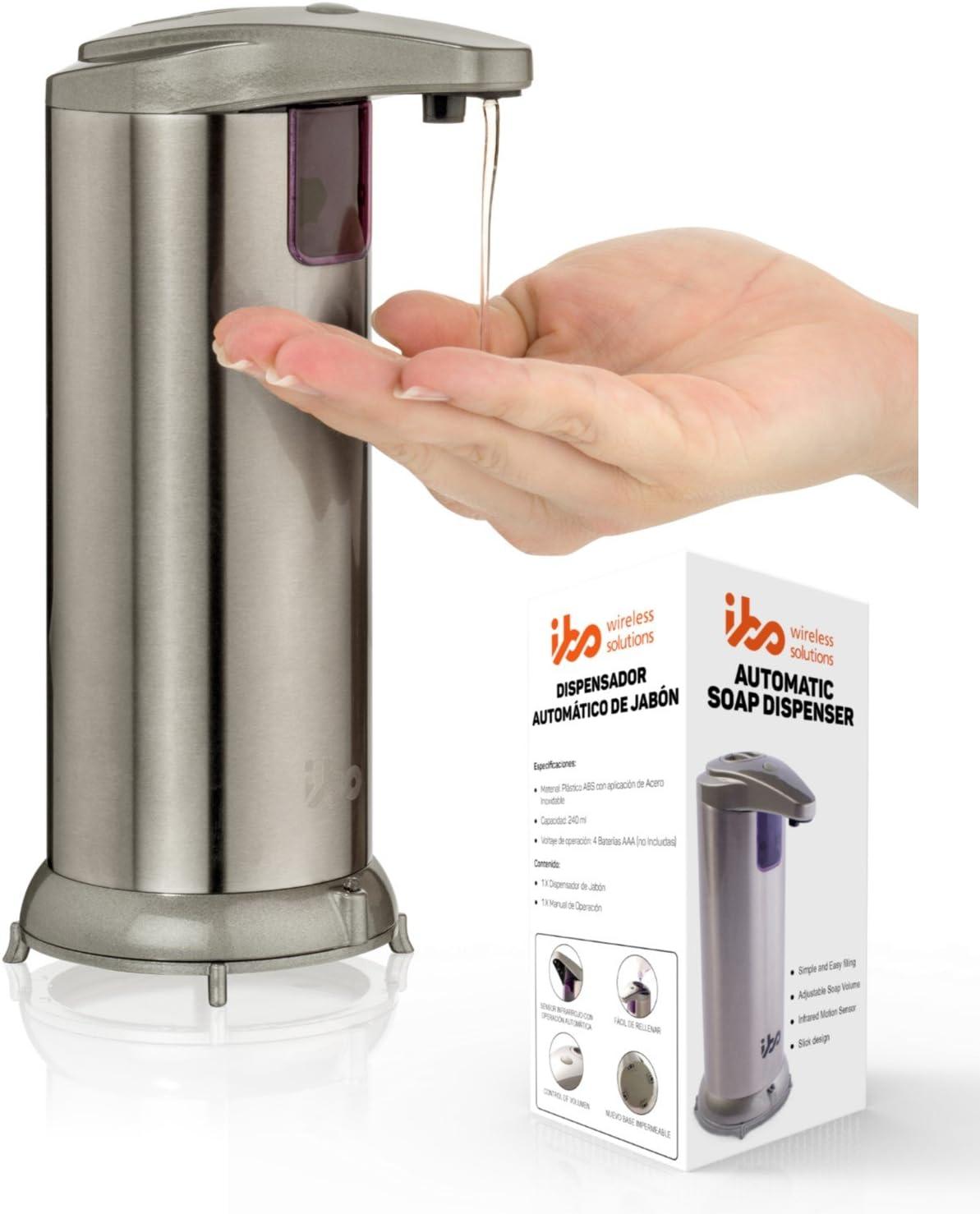 IBO Dispensador Jabon Automatico De Liquidos Manos Libres Acero Inoxidable Impermeable Para Cocina Y Baño Touchless Soap Dispenser Chromado 240 ml