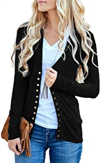 Women's Long Sleeve V-Neck Button Down Knit Open Front...