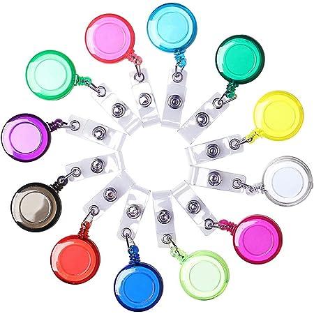 Borte 12 Pièces Enrouleur Badge, Rétractable Porte-Badges Badge Holder Clips Porte-cartes Translucides - Pour Cartes & Badges (Multicolore)