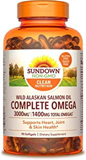 Sundown Complete Omega Wild Alaskan Salmon Oil Softgel, 1400 mg, 90 Softgels (Packaging May Vary)