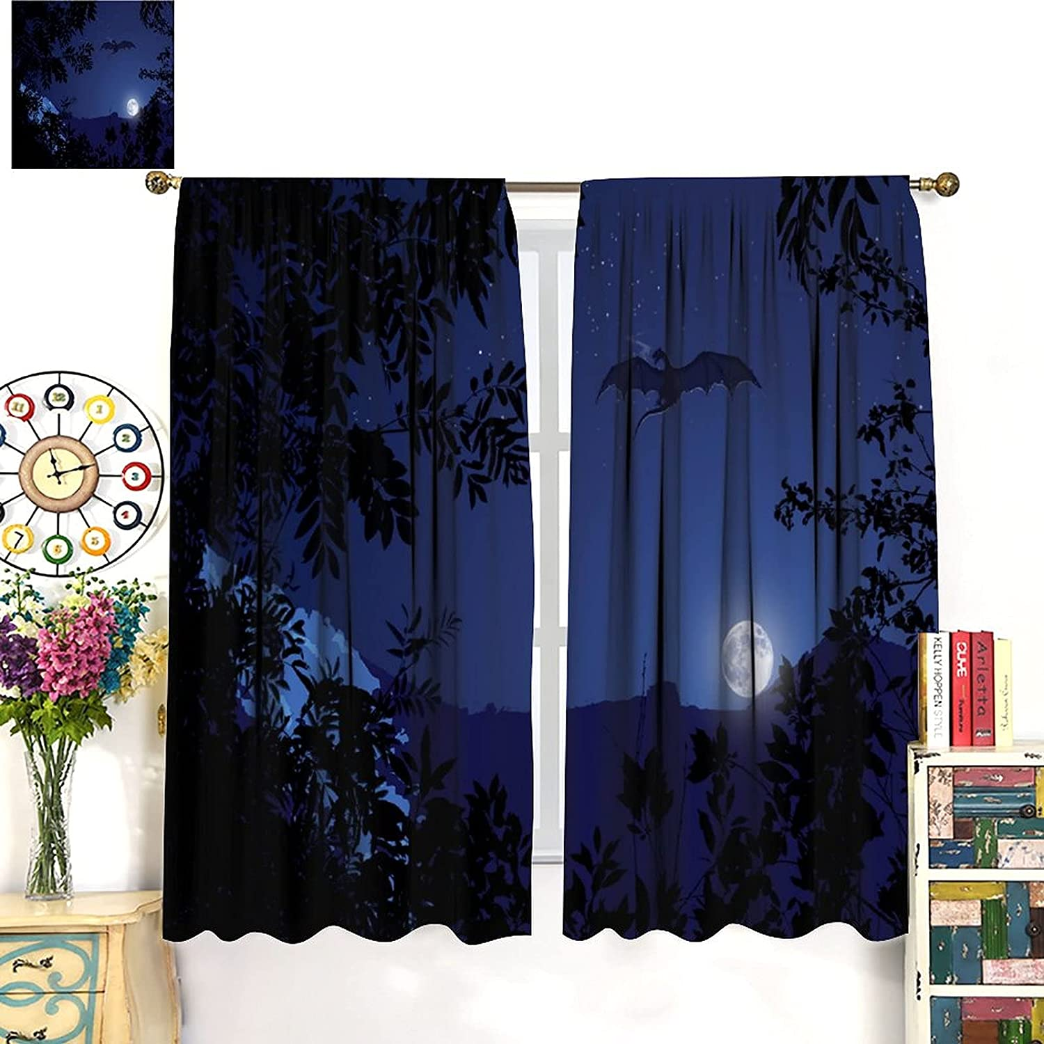 Dragon Blackout Curtains 2021new shipping free Full Latest item Moon Scene and Night Flying