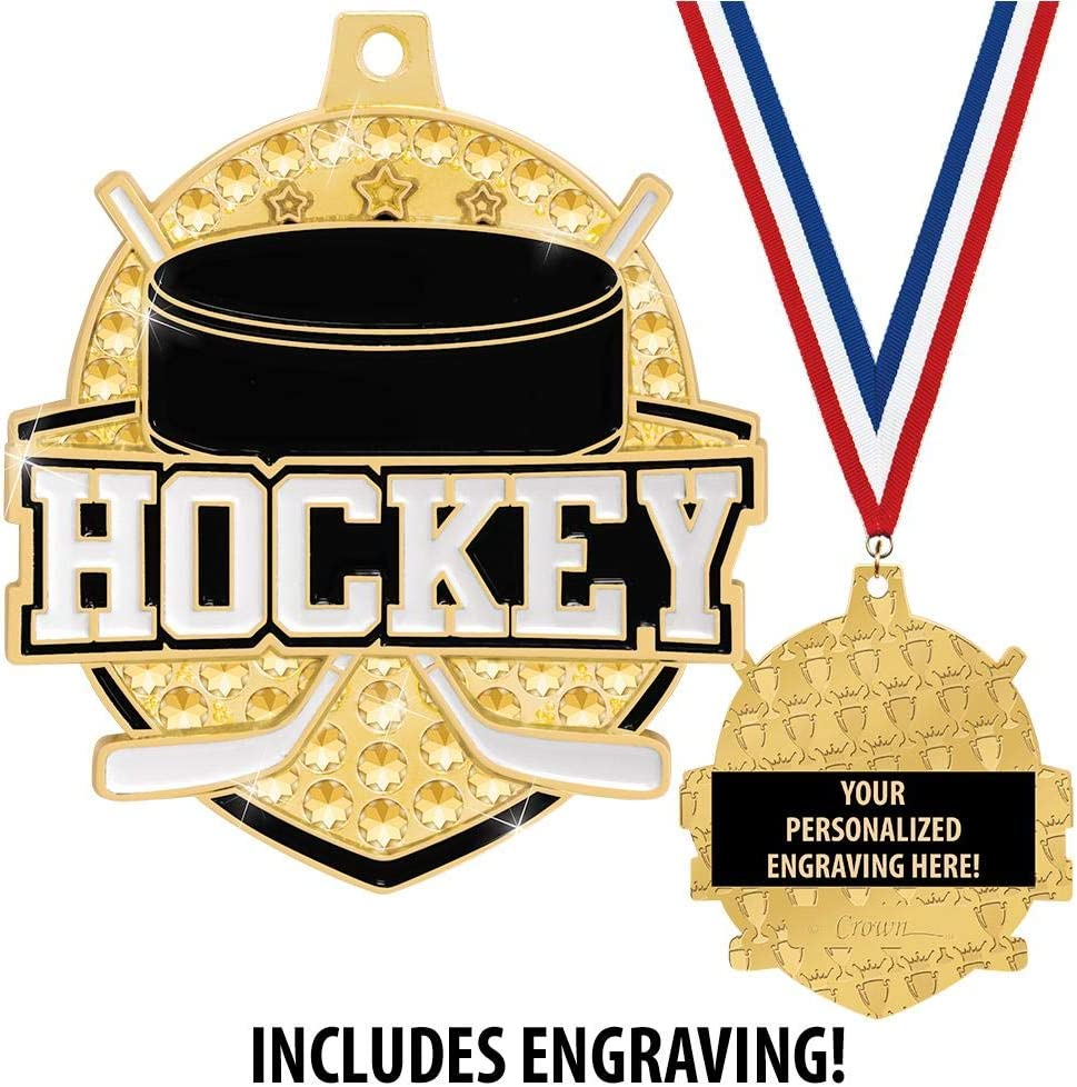 Crown Awards 2 1//4 Royal Hockey Medals Shiny Gold Hockey Medals with Free Engraving