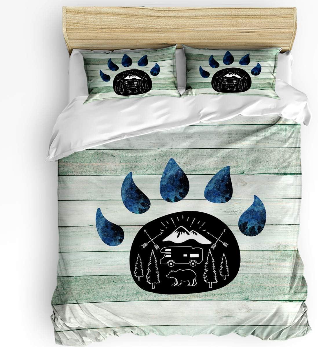 Teather 3-Piece Bedding Sets Import Bears Elegant Paw Cov - Duvet Set Comforter